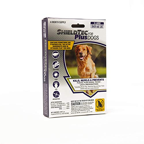 ShieldTec Flea and Tick Prevention for Dogs, X-Large Over 66 lbs, 4 Months, 4 Doses