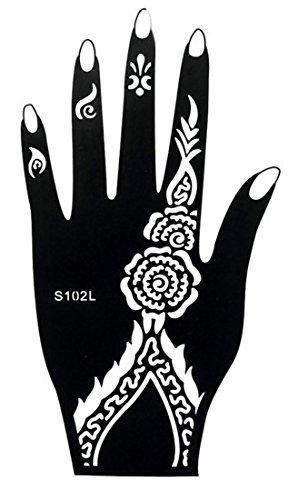Mehndi Tatouage Pochoir pour la main Mehndi Tatouages au henné S102L - à usage unique pour la main - pour tatouage au henné, tatouage paillettes et aérographe tatouage Beyond