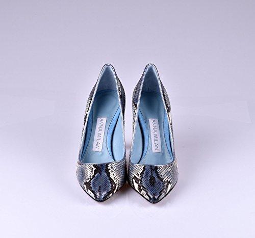 ANNA Taille MILAN Fabriquée en Python pour en Semelle en Cuir Exclusive Bleu Espagne Femme et 40 Intérieure Gel Collection Semelle Escarpins de 38 rrdTRq