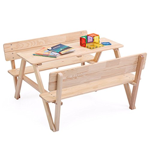 JAXPETY Kids Table Bench Set Children Wooden Picnic Bench Play Seat W/Backrest Review