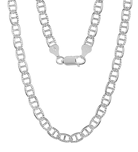 5.3mm 925 Sterling Silver Italian Crafted Diamond-Cut Mariner Link Chain, 18