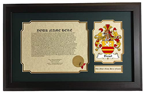 Drexel - Coat of Arms and Last Name History, 14x22 Inches Matted and Framed