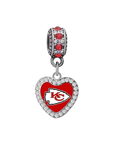 Kansas City Chiefs Rhinestone Heart Charm Fits European Style Large Hole Bead Bracelets