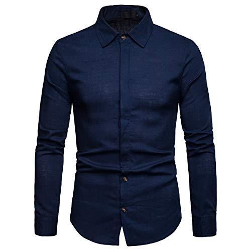Casual Unie Marine Chemise En Allthemen Bleu Couleur Coupe Droite Homme Manches Longues Lin HxEqSIwZ