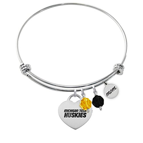 Michigan Tech Huskies Adjustable MOM Bracelet With Heart Charm