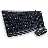 Logitech MK200 - Combo de mouse y teclado alámbricos en español, color Negro