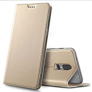 Oneplus 6 case, Premium Flip case Cover for Oneplus 6, Gold