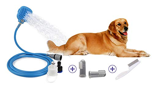 JeonbiuPet Pet Shower Sprayer, 3 in 1 Dog Cat Grooming Shower Kit with 8 FT Hose and 2 Adapters -Bonus with Dental Finger Toothbrush and Flea Comb by JeonbiuPet