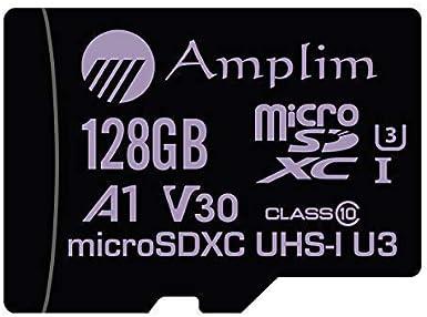 128GB Micro SD Card Plus Adapter Pack, Amplim 128 GB MicroSD SDXC Class 10 Pro U3 A1 V30 Extreme Speed 100MB/s UHS-I UHS-1 TF XC MicroSDXC Memory Card ...