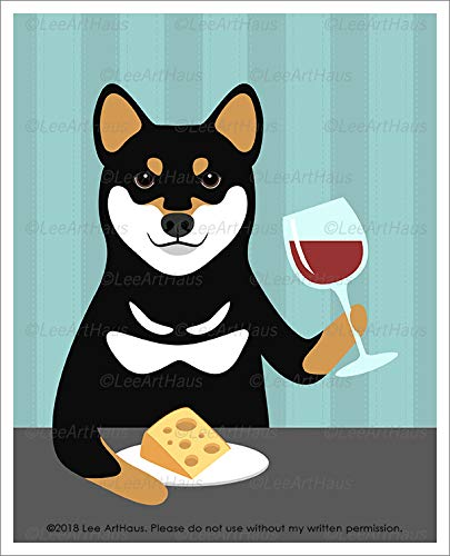 - 712D - Black and Tan Shiba Inu Dog Drinking Wine and Eating Cheese UNFRAMED Wall Art Print by Lee ArtHaus