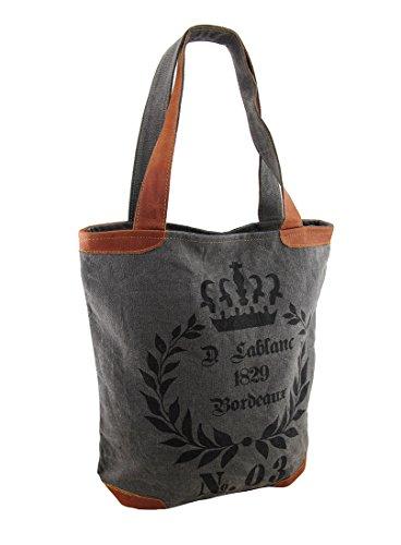 1829 Bordeaux No. 03 Grey Canvas Tote Bag Zeckos