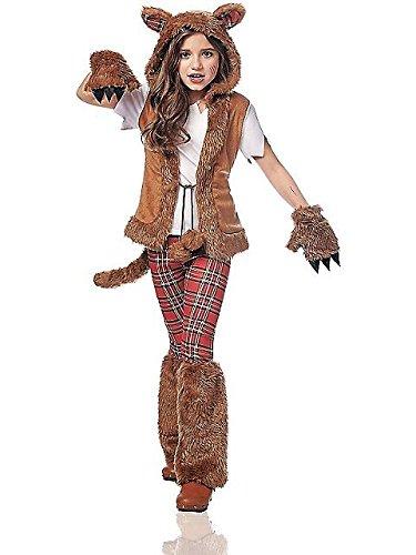 Costume Culture Women's Howl-O-Ween Girl's Costume, Brown, Medium (Werewolf Costume For Girls)
