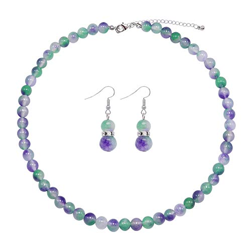 Colorose Gemstone Necklace for Women Green Purple Natural Stone Bead Strand Necklace and Earring - Green Necklace Casual