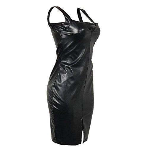 Vestido de Cuero para Mujer, LILICAT® Vestido de Fiesta para Bodas Cortos Bodycon de moda, Vestido de Tirantes Sexy Clubwear Slim Fit sin mangas Negro