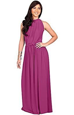 KOH KOH Sexy Sleeveless Summer Formal Flowy Casual Gown