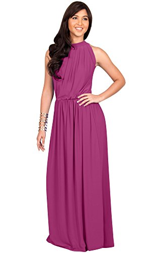 KOH KOH Plus Size Womens Long Sexy Sleeveless Bridesmaid Halter Neck Wedding Party Guest Summer Flowy Casual Brides Formal Evening A-line Gown Gowns Maxi Dress Dresses, Fuchsia Magenta Pink XL 14-16