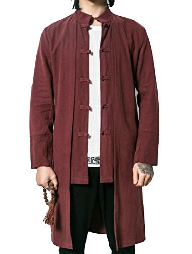 Tower Chi Tai (Tootless-Men Tai Chi Retrol Buckle Plus Size Casual Loose Jacket Coat Red M)