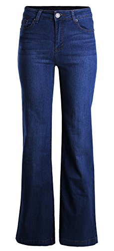 Mid Leg Jeans Wide Rise (Ladies' Code Straight Mid Rise Wide Leg Denim Jeans Dark 7 Size)