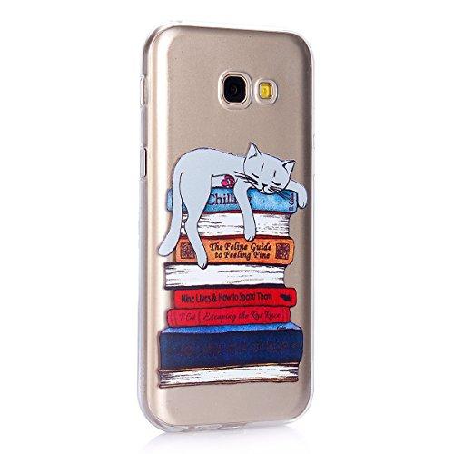 Funda Samsung Galaxy A5 2017,SainCat Moda Alta Calidad suave de TPU Silicona Suave Funda Carcasa Caso Parachoques Diseño pintado Patrón para CarcasasTPU Silicona Flexible Candy Colors Ultra Delgado Li Gato perezoso