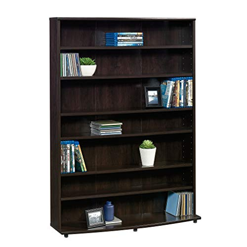 "Sauder 409110 Multimedia Storage Tower, L: 32.44"" x W: 9.41"" x H: 45.35"", Cinnamon Cherry finish"