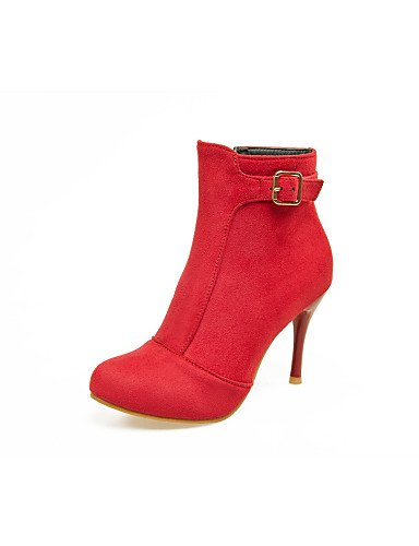 Red Eu39 Rojo Fiesta Cn39 Y Botas Black Zapatos us8 La Moda Uk6 A Uk3 Vellón Stiletto Mujer Cn34 Vestido Negro Eu35 Tacón De Noche Xzz us5 wZaAvUx