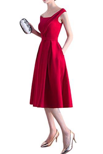 Promgirl House Damen Schlicht Rot Träger Cocktailkleider Knielang Abendkleider Satin Ballkleider Kurz
