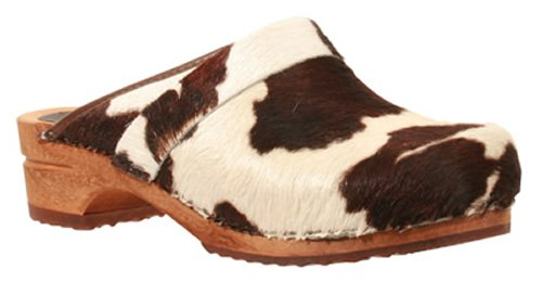 Sanita 'Brown Cow' Print Wooden Clogs  - 36
