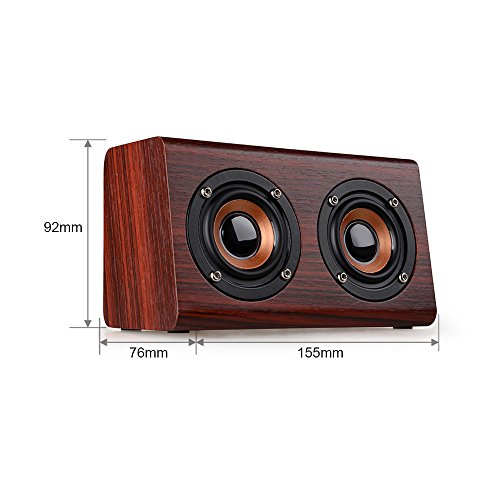 Kariwell Portable Wooden 6W Output Bluetooth Speaker with HD Sound and Enhanced Bass,Small Size, Large Energy Kari -28 (Red Wood) ()