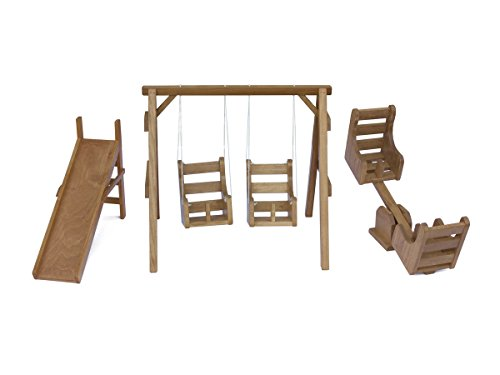 Wooden Doll Playground Play Set for 18-22'' Dolls - Swing Set, Sliding Board, and See-Saw, Amish-Made by AmishToyBox.com