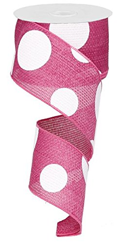 Giant Multi Dots Faux Burlap Wired Edge Ribbon - 2.5 Inch x 10 yards (Pink, White) : RG0120011 by Expressions