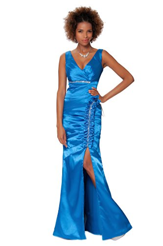 Azul EDJ1576 noche entero formal vestido cuerpo de honor de damas Cobalto de Gorgeous SEXYHER de Encuadre wIP66O