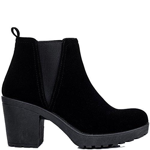 Plateforme À Talon Bloc Chelsea Boots Bottines Gr 37