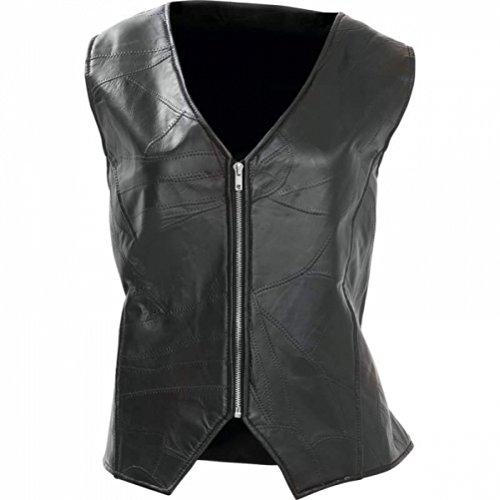 Leather Genuine Ladies Vest - Diamond Plate Ladies Rock Design Genuine Leather Angel Wing Vest