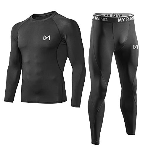 - Men's Sport Base Layer Set, Mesh-Side Cool Dry Workout Fitness Long Sleeves Shirt and Pants, Compression Long Johns Underwear Black