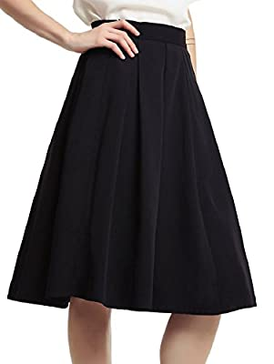 Sorrica Women's Elegant High Waist Knee Length A-Line Flared Swing Skater Skirt with Pockets