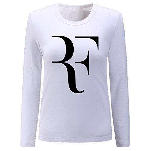 CIN-FAN Women's Tennis Player RF Shirt Long Sleeve (White Large)