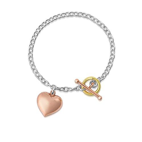 Tiffany Rose Bracelet - Ben and Jonah Sterling Silver Tiffany Style Charm Bracelet with Heart Pendant (Sterling Silver with Gold and Rose Gold Accents))