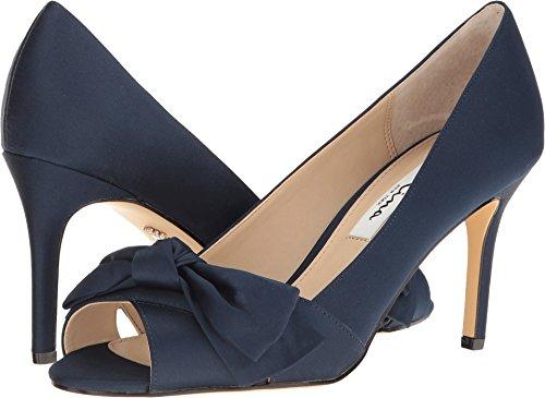 Satin Peep Toe Dress Sandal (Nina Women's Forbet New Navy Sandal)