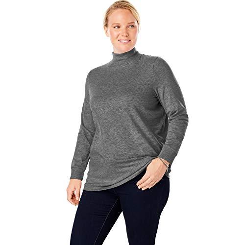 Woman Within Women's Plus Size Perfect Long Sleeve Mock Turtleneck - Medium Heather Grey, 1X