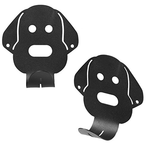 Wall Mounted Black Metal Dog Head Shaped Coat Hook Hanger, Set of - Men Oval Shaped Head