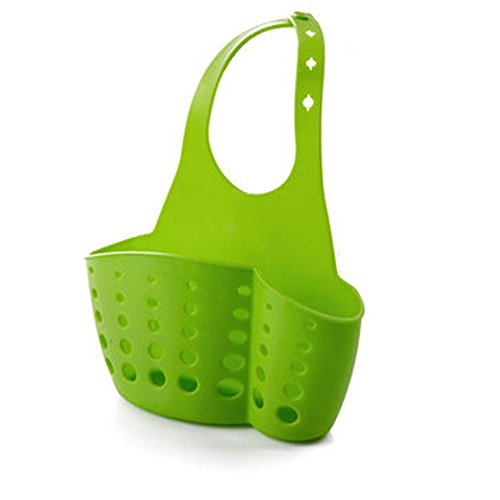 TuuTyss Space-saving Plastic Kitchen Sink Caddy Organizer Sponge Holder Rack-Green