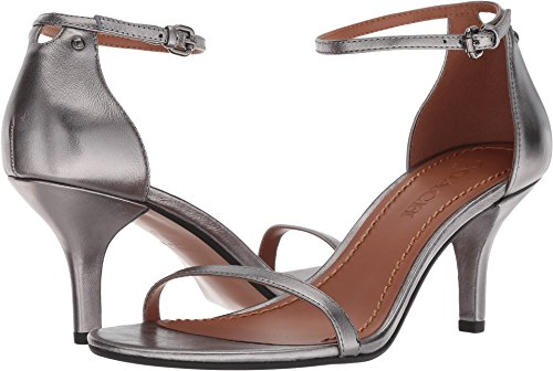 Coach Women's Heeled Sandal Gunmetal Metallic Leather 8.5 M ()