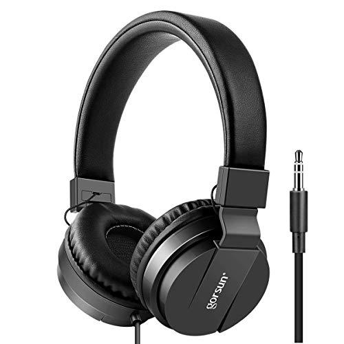 Kids Headphones, gorsun Lightweight Stereo Foldable Wired Headphones for Kids Adults Adjustable Headband Headset for Cellphones Smartphones iPhone Laptop Computer Mp3/4 Earphones(Black)