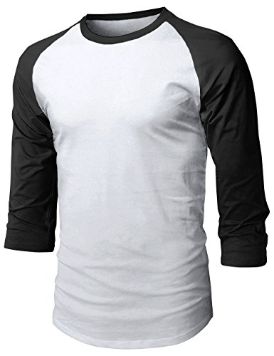 (Hat and Beyond Mens Baseball Raglan 3/4 Sleeve T Shirts 1HCA0008 (Small, 1hc08_White/Black))
