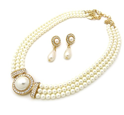 Fashion 21 Women's 3 Rows Rhinestone Trimmed Simulated Pearl Statement Necklace and Earrings Set (Cream)