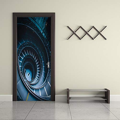 SZYHMS DIY 3D Wall Sticker Mural Dark Style Spiral Staircase Removable Bedroom Home Decor Poster Door Sticker decole 77x200cm
