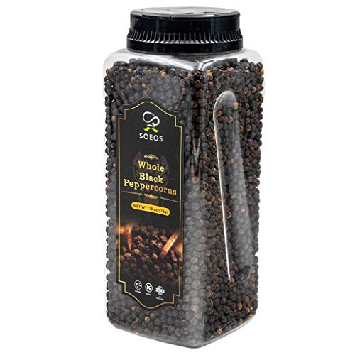 Soeos Premium Whole Black Peppercorns 18oz, (TOP GRADE), Black Peppercorns for Grinder Refill, NON-GMO, KOSHER CERTIFIED, Whole black Peppercorns Bulk, 18oz. (1 Pack)