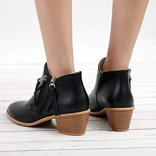 Clearance Heel Boots Ankle Boots Shoes Familizo Vacation Ladies Half Fashion Autumn Black Holiday Out Winter Women Boots Hollow Martin for Women Boots qxOftv0wxa