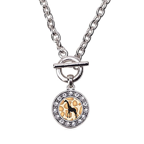 - Inspired Silver Giraffe Silhouette Circle Charm Toggle Necklace Clear Crystal Rhinestones