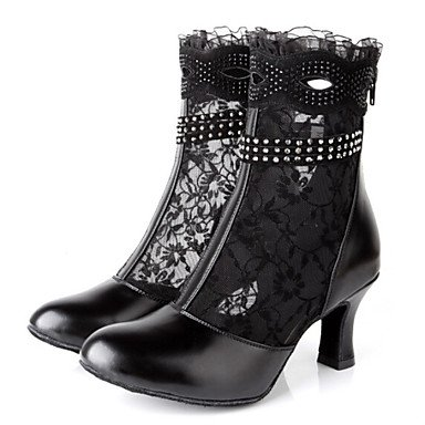 Latin Women's Dance Shoes Boots First Layer Leather Lace Stiletto Heel Black Black OrWwGuBe